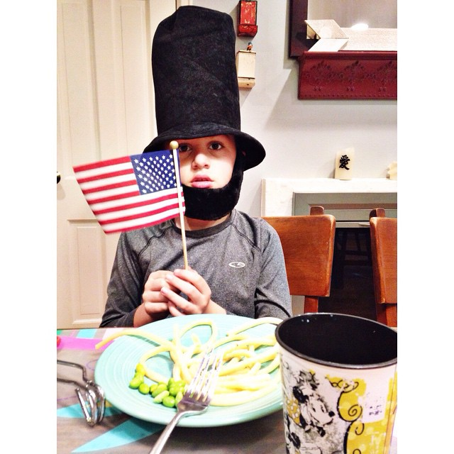 Look who joined us for dinner tonight! Abraham Lincoln ! #owenchristoper #scenesfromthedinnertable