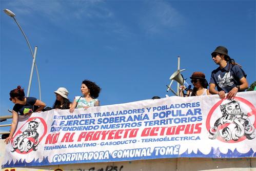 Cicletada familiar y acto cultural contra Octopus en Tomé