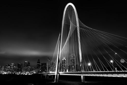 bridge bw white black skyline night dallas long exposure downtown hill margaret hunt