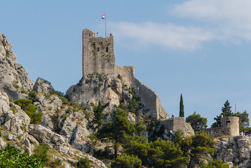old sea summer vacation house holiday mountains castle pine town croatia pirate fortress dalmatia mountaine omis