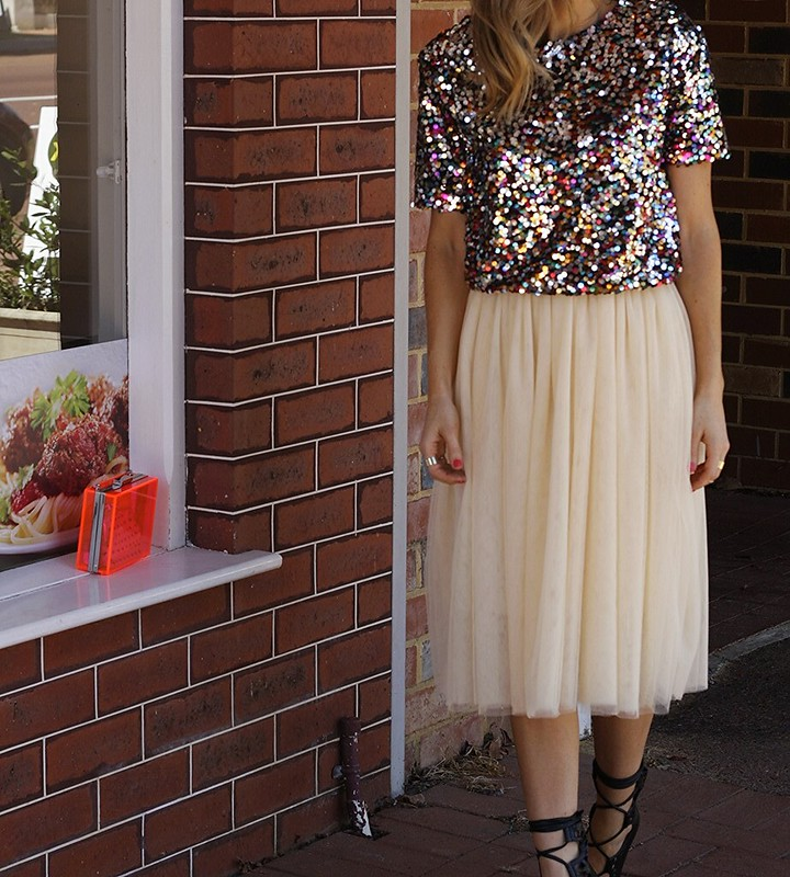 Sequin crop top, tulle skirt