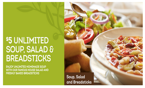 $5 All You Can Eat Salad, Soup & Breadsticks at Olive Garden With ...