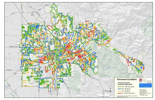Pavement Condition Index, mapped by street, Santa Rosa, California