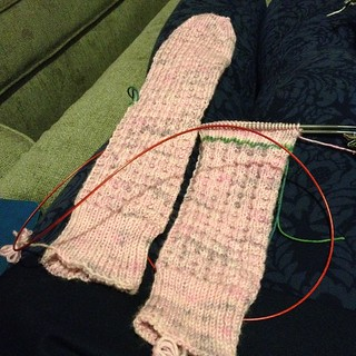 Zooming right along, past the ripcord for afterthought heel on sock #2 of Blueberry Waffles...