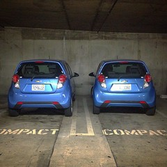 Compact blue #twins #parking  #photography