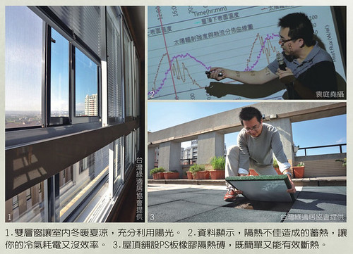 設計雙層窗,屋頂鋪設橡膠隔熱磚簡單達到隔熱效果。圖片來源:綠適居協會