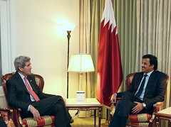 U.S. Secretary of State John Kerry meets with Qatari Emir Sheikh Tamim bin Hamad Al Thani in Washington, D.C., on January 25, 2015. [State Department photo/ Public Domain]