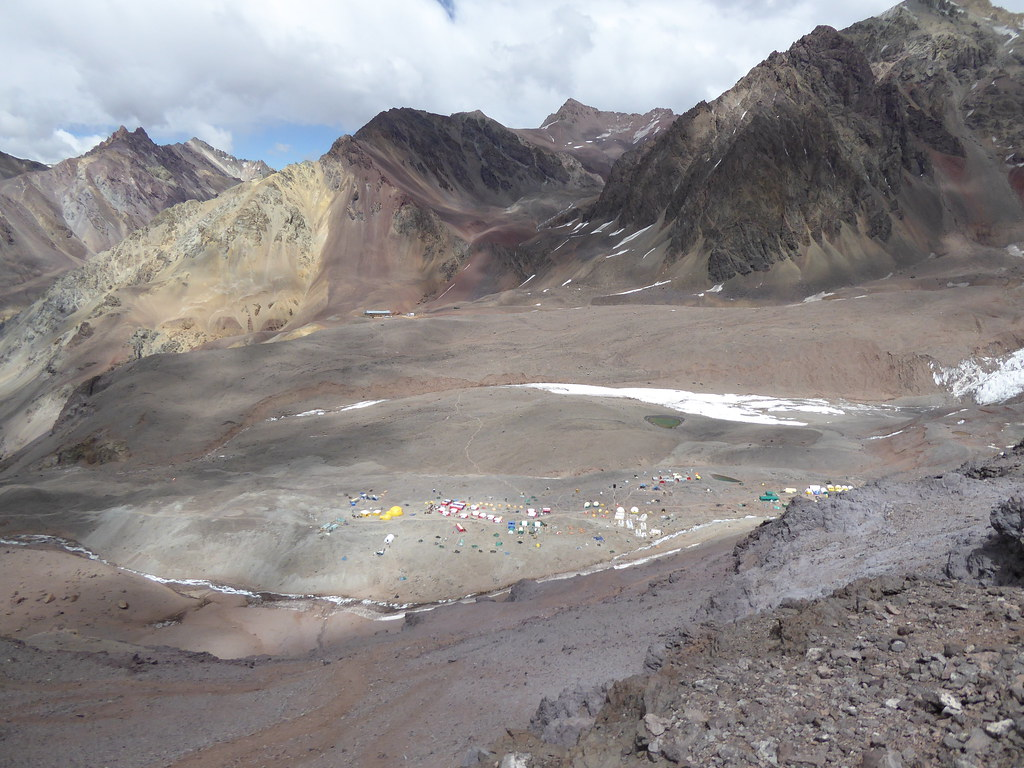 Looking down on Plaza de Mulas, Aconcagua