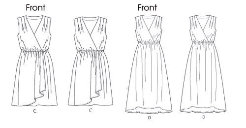 Butterick  5764 tech drawing