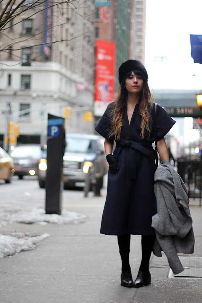 NYFW AW15 Zara Coat, Nasty Gal Forte Dress, Topshop fur hat
