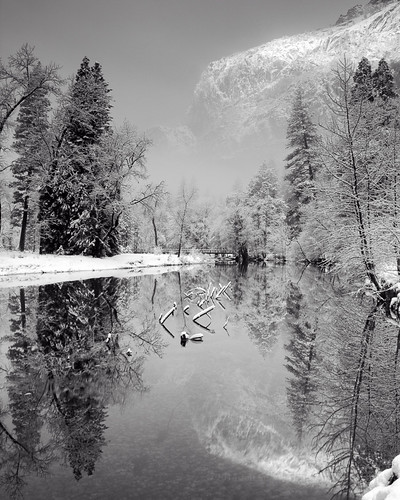 Snowy Merced River Reflection