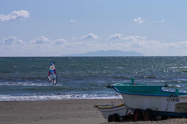 大島を眺める@由比ヶ浜