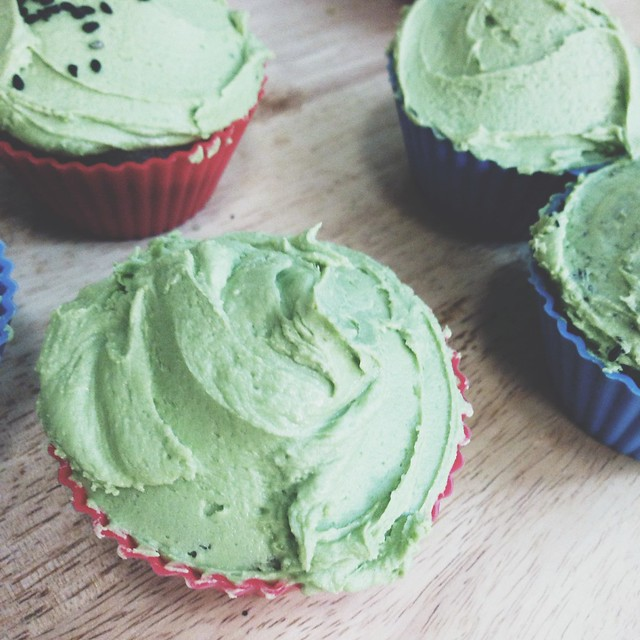 Black sesame cupcakes with matcha buttercream