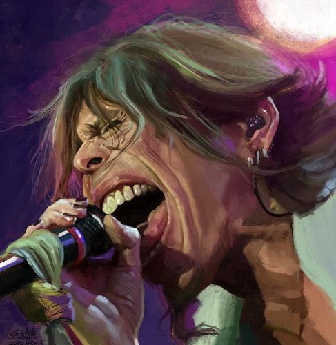 digital caricature sketch of Steven Tyler - 3