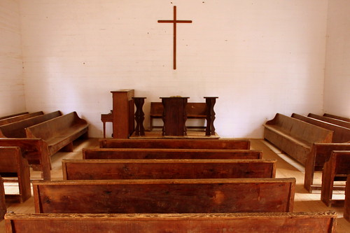 Inside the Cades Cove Methodist Church