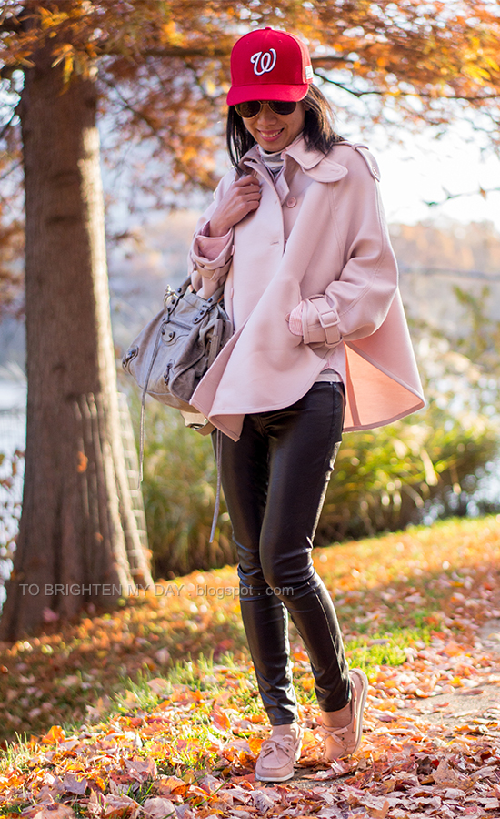 red cap, pink trench cape coat, striped shirt, striped turtleneck, black faux leather pants