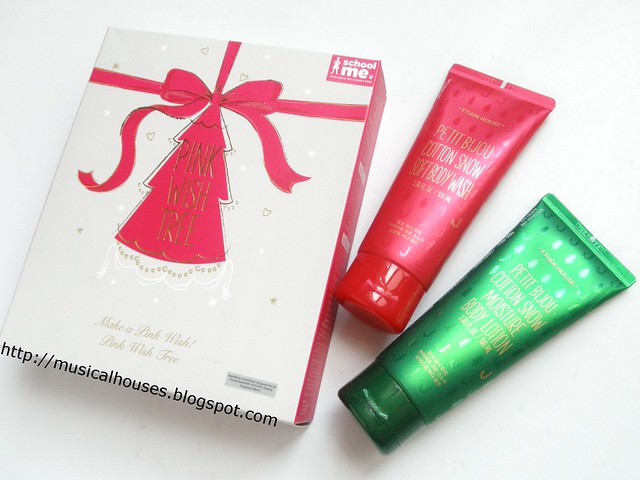 Etude House Pink Wish Tree Christmas Petit Bijou Body Wash Body Lotion Set