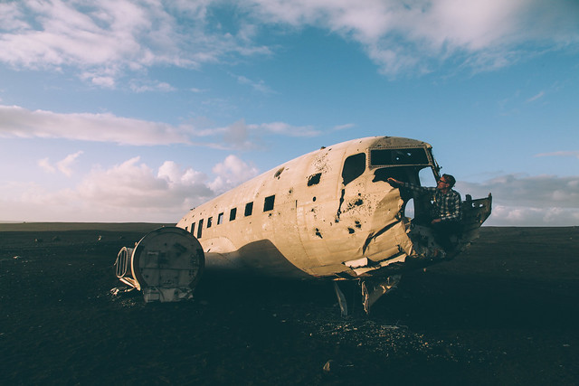 US Navy wreckage from 1973 on a beach in southern Iceland