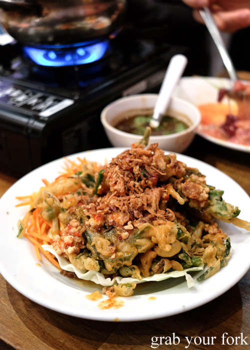 Deep fried morning glory salad at E-San Saap Thai, Sydney