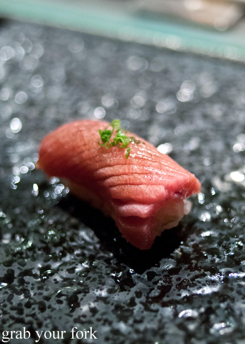 Ootoro tuna belly nigiri sushi at Sokyo at The Star, Pyrmont