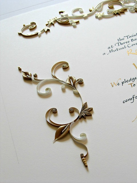 Anniversary Certificate with Quilled Gold Detail