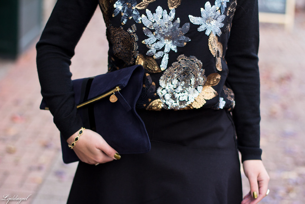 sequined sweater, black flippy skirt, clare v clutch-4.jpg