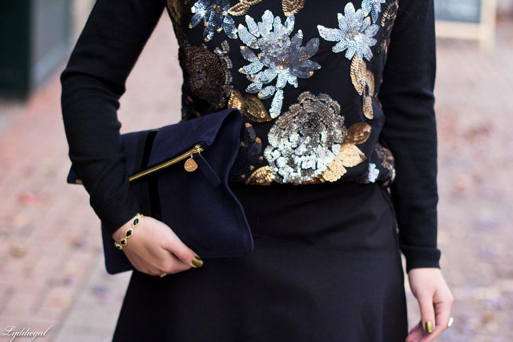sequined sweater, black flippy skirt, clare v clutch-4.jpg