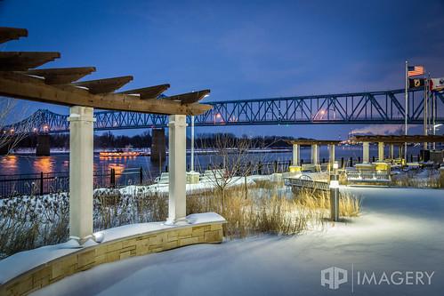bridge sunset snow night twilight downtown glover cary barge ohioriver owensboro bluebridge brudge smotherspark sheltonmemorial