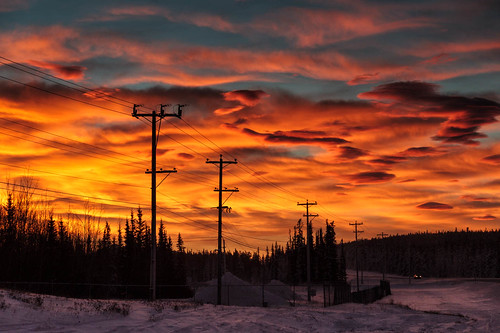winter sky cloud snow canada cold nature beauty sunrise landscape outside amazing cloudy north headlights yukon naturalbeauty northern telephonepoles whitehorse genre alaskahighway intothesun northof60 southernyukon deepcold redskyinmorning canon7d crazybeautful