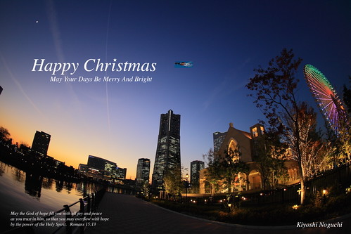 christmas light sunset sky japan night twilight ferriswheel yokohama kanagawa minatomirai