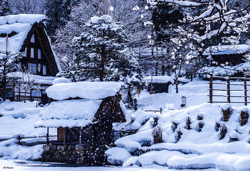 Real life snow globe, Hida Folk Village, Takayama, Japan #Winter #Japan
