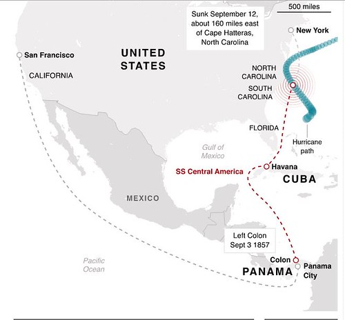 Path of SS Central America