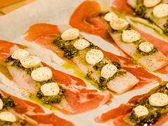 Fish, prosciutto, bocconcini and pesto... so good!