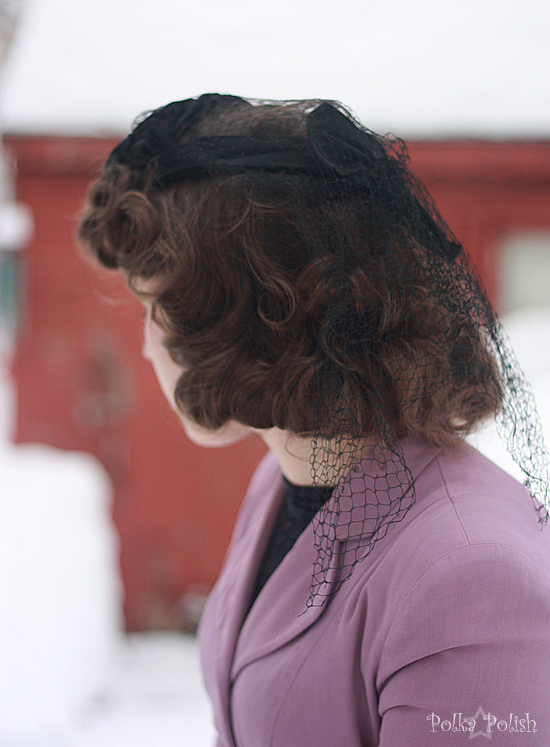 1940s ruffled tilt hat with back veil