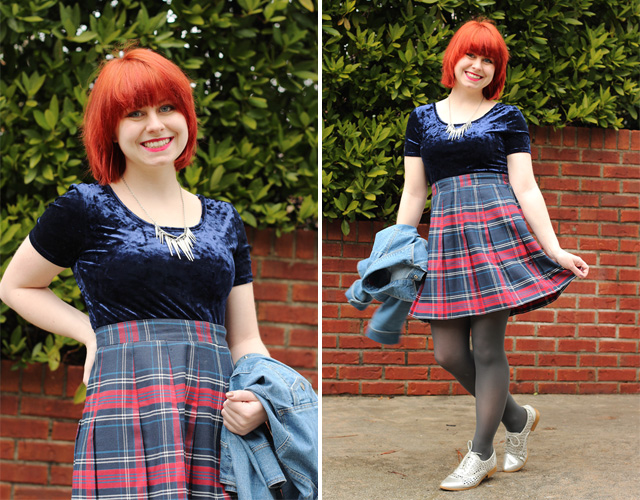Blue Velvet Crop Top with a Plaid Pleated Schoolgirl Skirt and Silver Oxford Shoes