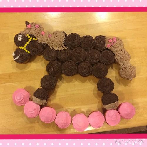 Rocking Horse Cupcake!         I had fun making this cupcake cake creation!