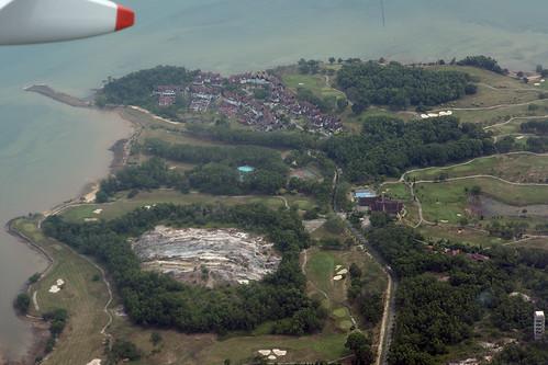 tree pool swimming court golf indonesia course tennis complex surrounded quarry condominium active aerialphotograph sportcomplex riauislands indahpurigolfresort