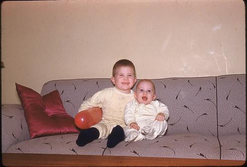 adorable toddlers - Kodachrome slide, 1961