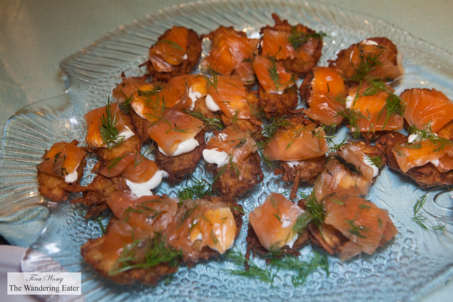 Potato latke with Nova salmon and sour cream by Baz Bagels