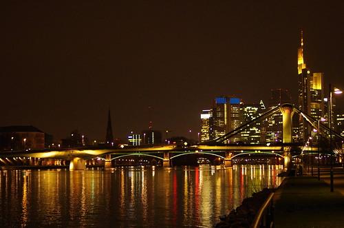 night river germany deutschland nacht frankfurt main rivière fluss nuit allemagne francfort fleuve