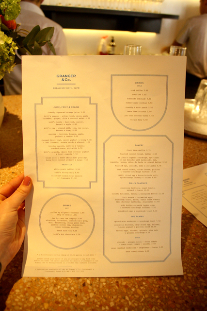The brunch menu at Granger & Co., Notting Hill, London