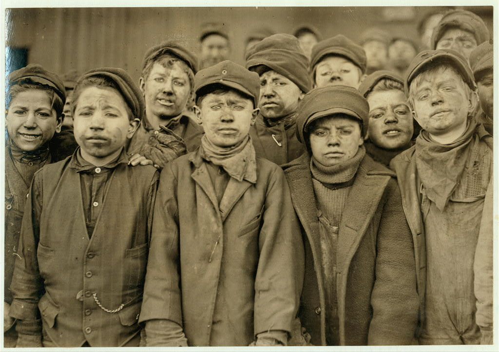 Breaker boys in #9 Breaker, Hughestown Borough, Pa. Coal Co. Smallest boy is Angelo Ross, (See labels #1953 + #1951.) Location: Pittston, Pennsylvania.