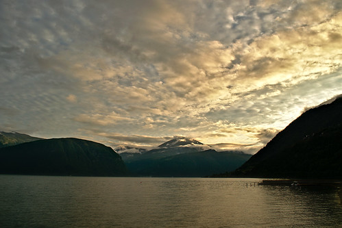 clouds fjord mountains norway sunset water