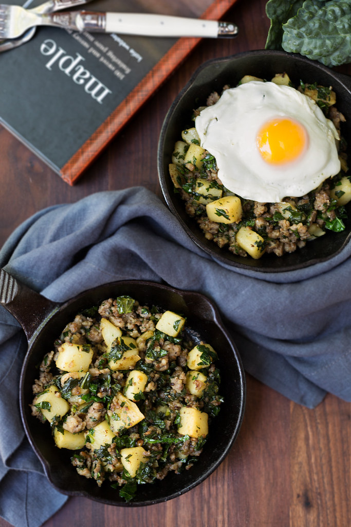 Potato and Sausage Breakfast Skillet with Greens #sponsored