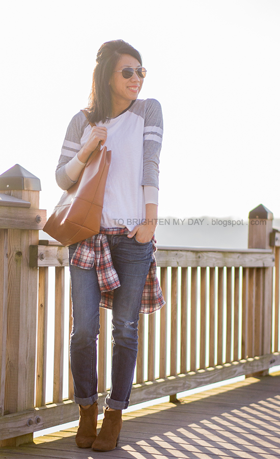 baseball tee, plaid shirt, cognac brown tote, brown suede ankle boots