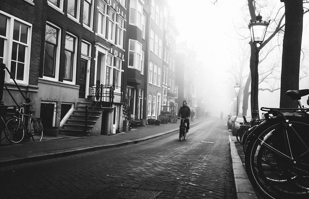 Amsterdam scene during fog