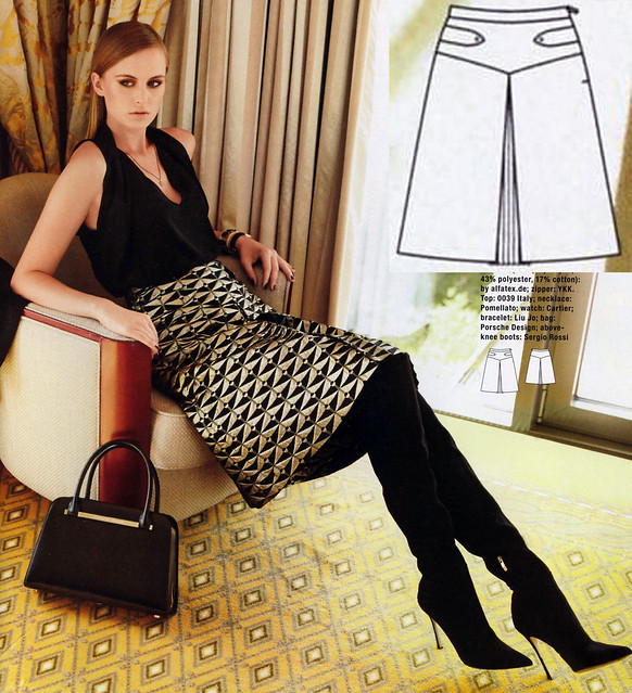 Burda-2014-December A-Line Skirt