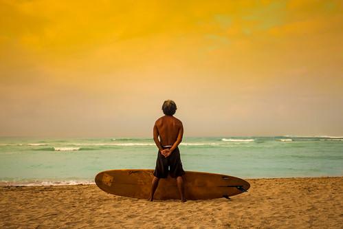ocean orange beach yellow swim hawaii golden waikiki surfer board