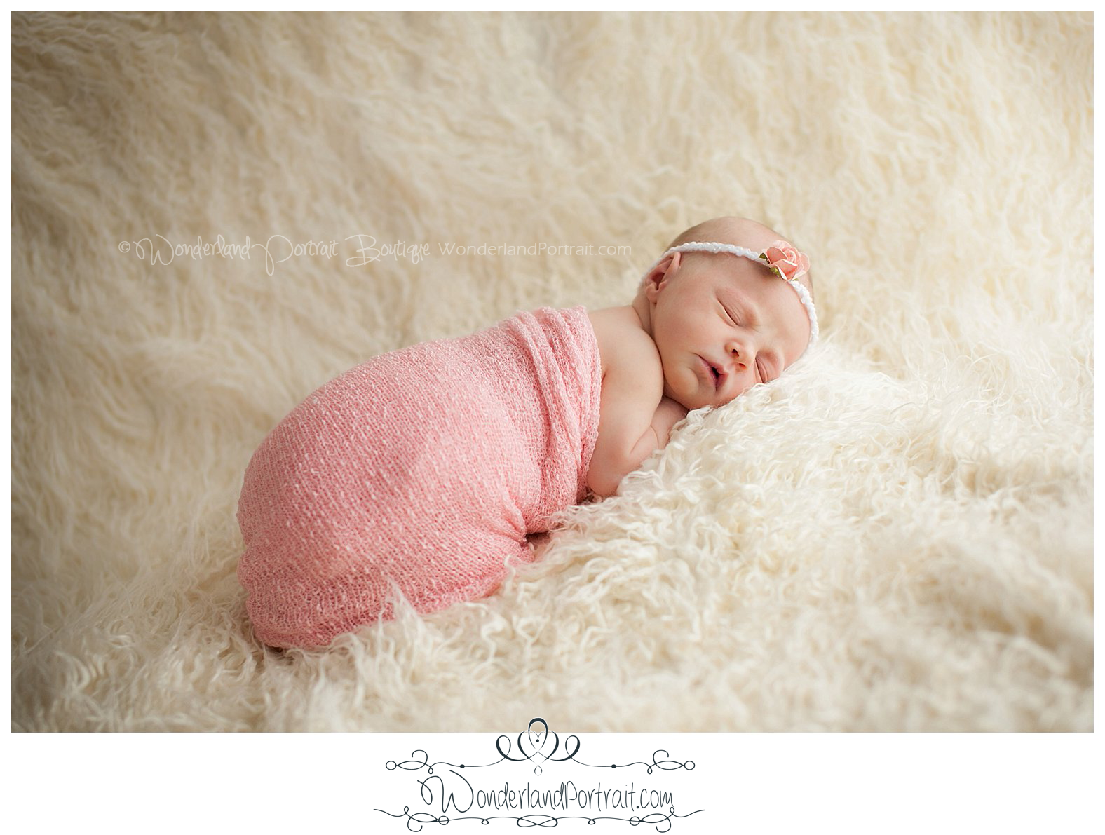 Tummy pose Delicate Headband Pink Wrap  Newborn Photos Bucks County PA | WonderlandPortrait.com