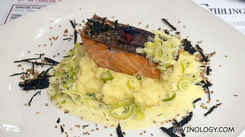 Crispy King Salmon (S$23) - Pan-seared to crispy, served with fork crushed potato and creamy dill, leek sauce